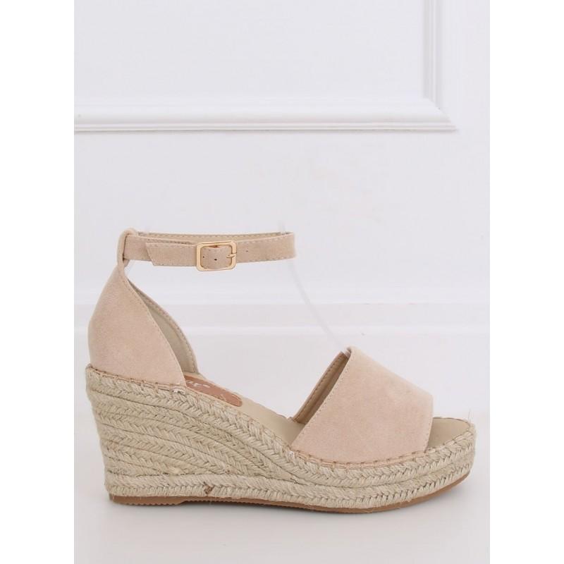 Béžové semišové sandály s klínovým podpatkem pro dámy