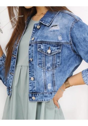 Riflová dámská bunda světle modré barvy s dírami