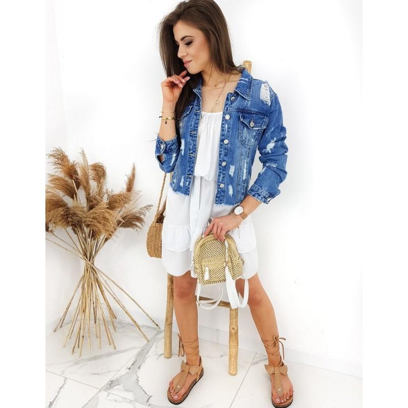 Dámská riflová bunda v světle modré barvě s dírami