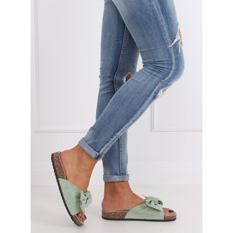 Dámské semišové pantofle na korkové podrážce v mátové barvě