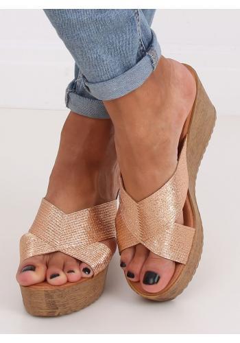 Růžovo-zlaté metalické pantofle s klínovým podpatkem pro dámy