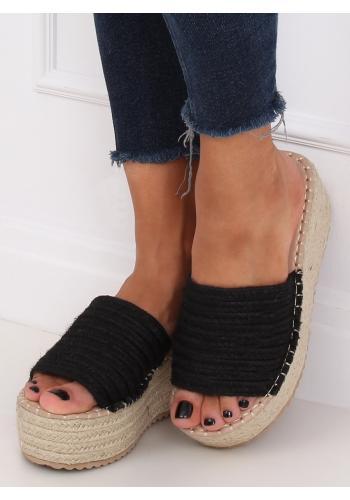 Černé letní pantofle s klínovým podpatkem pro dámy