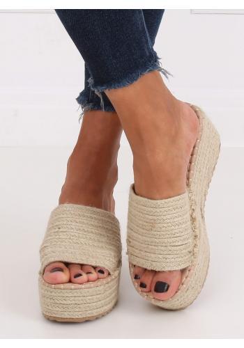 Dámské letní pantofle s klínovým podpatkem v béžové barvě