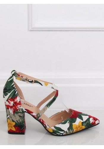 Květované dámské lodičky bílé barvy na stabilním podpatku