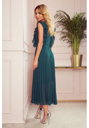 Dámské plisované šaty s volány v zelené barvě