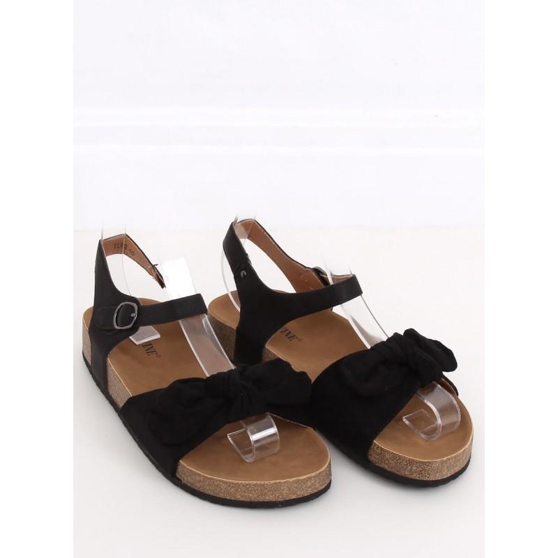 Pohodlné dámské sandály černé barvy s mašlí