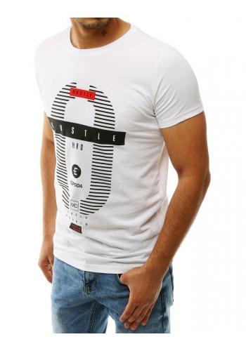 Pánské klasické tričko s potiskem v bílé barvě