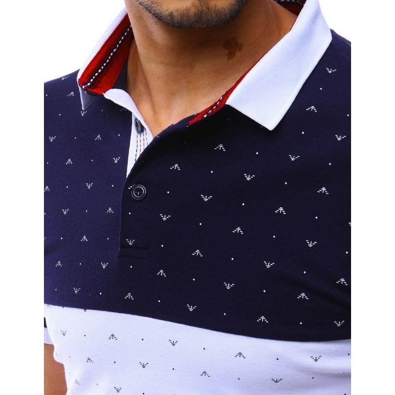 Pánská stylová polokošile se vzorem v tmavě modré barvě
