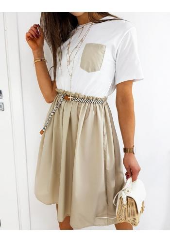 Béžovo-bílé módní šaty s rozšířenou sukní pro dámy ve slevě