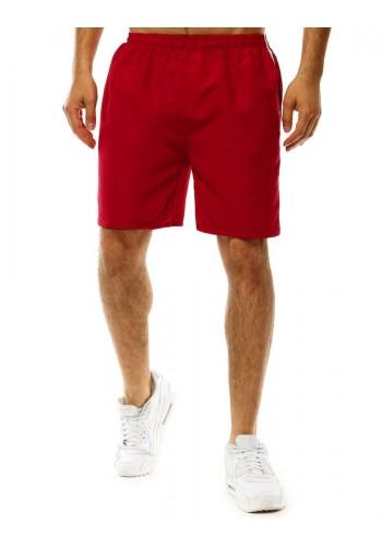 Pánské koupací šortky s pásy na bocích v bordové barvě