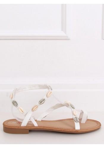 Dámské letní sandály s mušlemi v bílé barvě