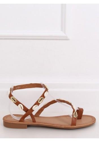 Letní dámské sandály hnědé barvy s mušlemi