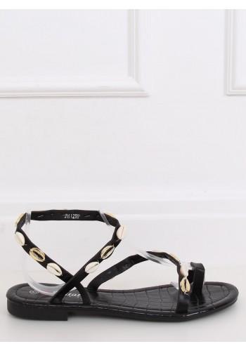 Černé letní sandály s mušlemi pro dámy