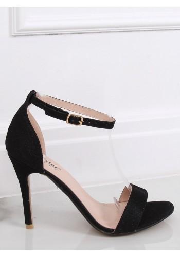 Dámské třpytivé sandály na štíhlém podpatku v černé barvě