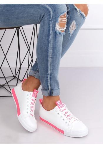 Klasické dámské tenisky bílo-růžové barvy