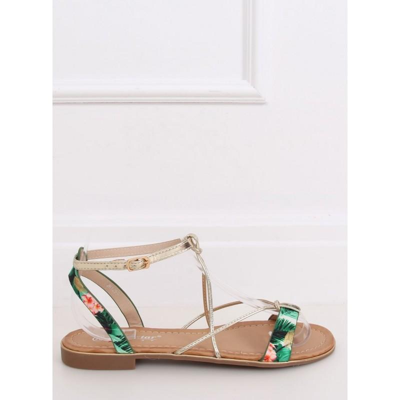 Zelené módní sandály se zlatými pásky pro dámy