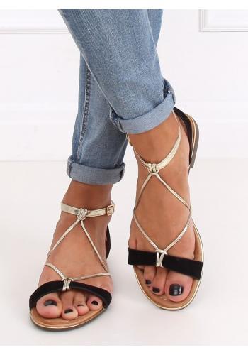 Dámské módní sandály se zlatými pásky v černé barvě