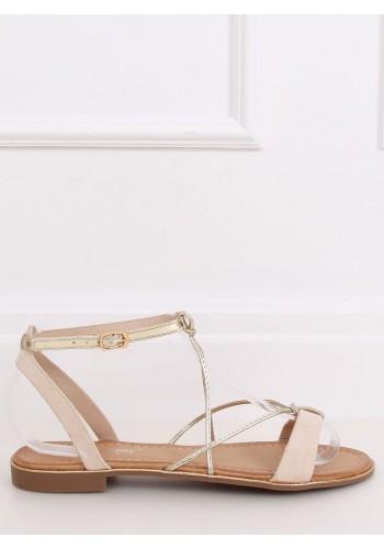 Módní dámské sandály béžové barvy se zlatými proužky