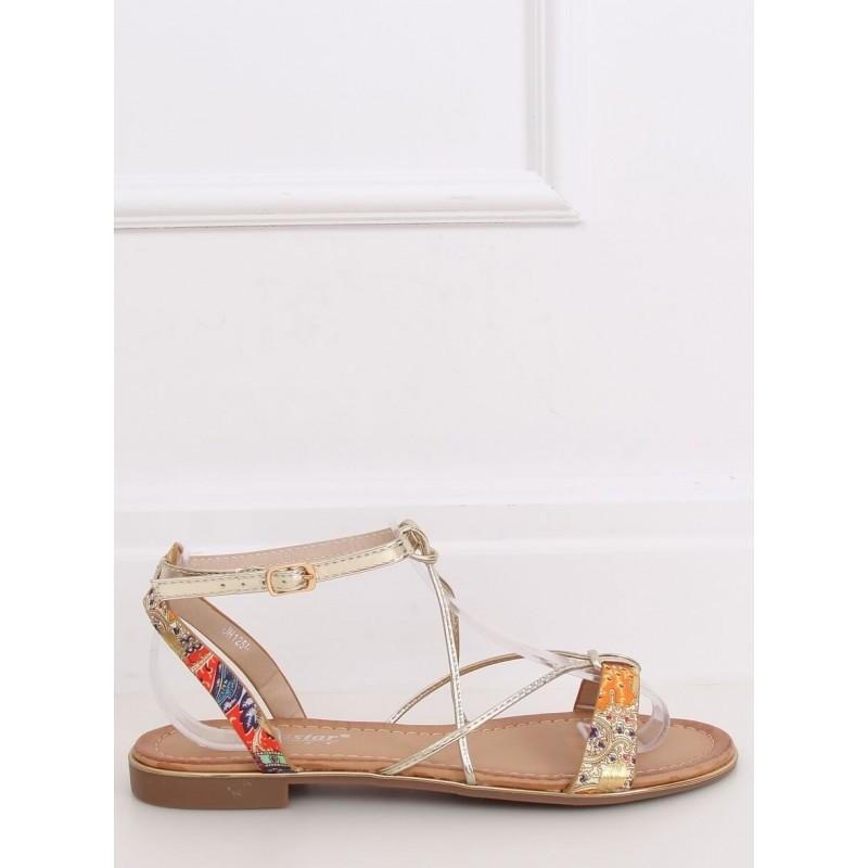Oranžové módní sandály se zlatými pásky pro dámy