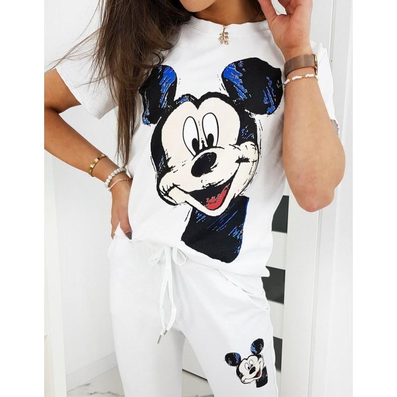 Bílá tepláková souprava s potiskem Mickey pro dámy