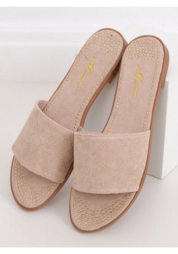 Dámské semišové pantofle s vybíjením v béžové barvě