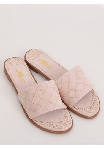 Semišové dámské pantofle růžové barvy s vybíjením