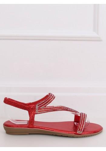 Dámské asymetrické sandály s kamínky v červené barvě
