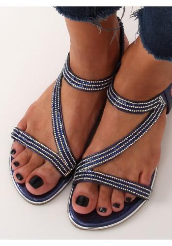Asymetrické dámské sandály tmavě modré barvy s kamínky