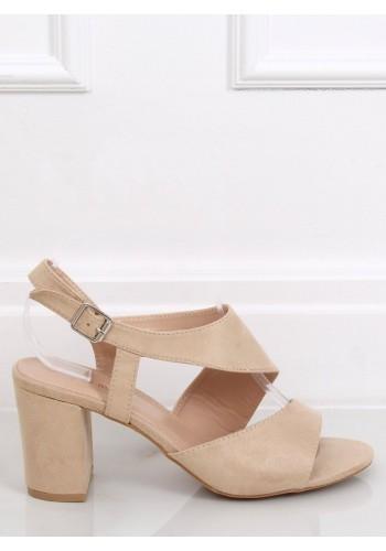 Dámské semišové sandály na stabilním podpatku v béžové barvě