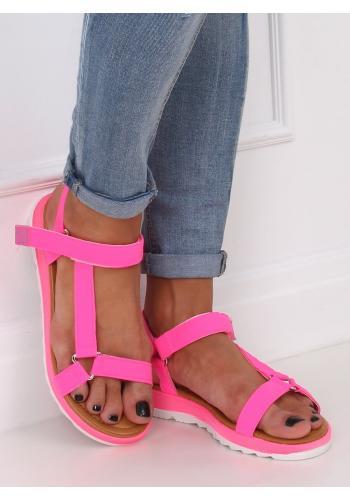 Dámské módní sandály se suchým zipem v růžové barvě