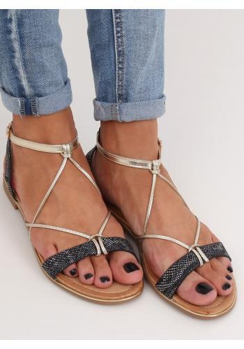 Černé stylové sandály se zlatými doplňky pro dámy