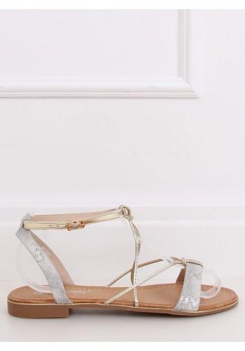 Dámské stylové sandály se zlatými doplňky ve stříbrné barvě