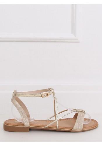 Stylové dámské sandály zlaté barvy se zlatými doplňky