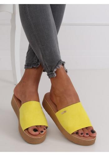 Žluté semišové pantofle s klínovým podpatkem pro dámy