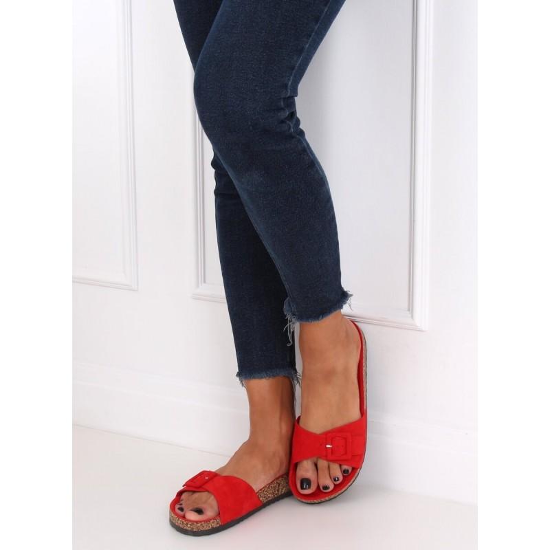 Dámské semišové pantofle s korkovou podrážkou v červené barvě