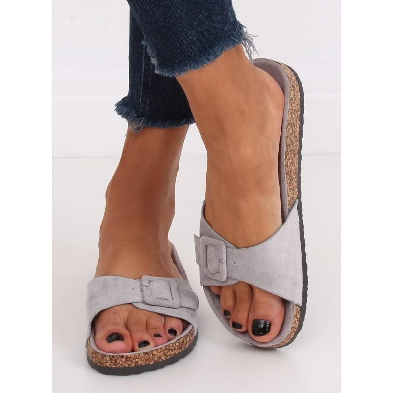 Semišové dámské pantofle šedé barvy s korkovou podrážkou