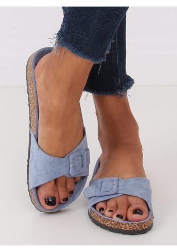 Světle modré semišové pantofle s korkovou podrážkou pro dámy