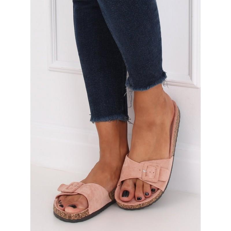 Dámské semišové pantofle s korkovou podrážkou v růžové barvě