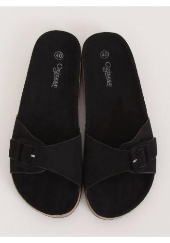 Semišové dámské pantofle černé barvy s korkovou podrážkou