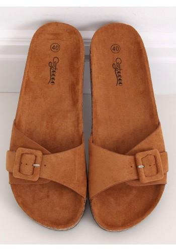 Hnědé semišové pantofle s korkovou podrážkou pro dámy