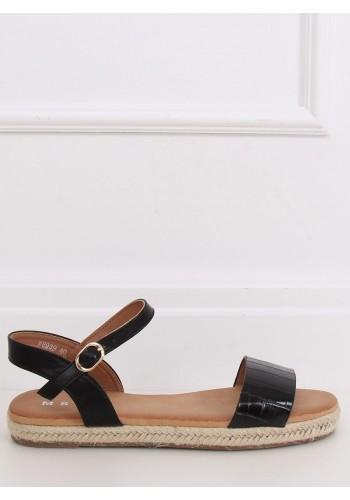 Černé módní sandály s motivem krokodýlí kůže pro dámy