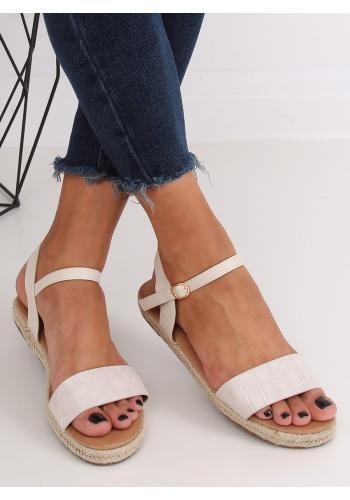 Dámské módní sandály s motivem krokodýlí kůže v béžové barvě