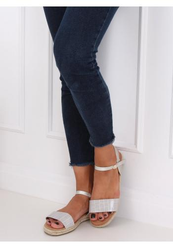 Módní dámské sandály šedé barvy s motivem krokodýlí kůže