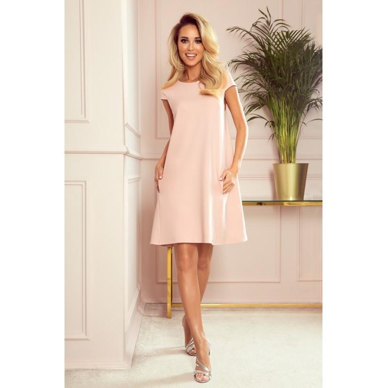 Lichoběžníkové dámské šaty pastelově růžové barvy s kapsami