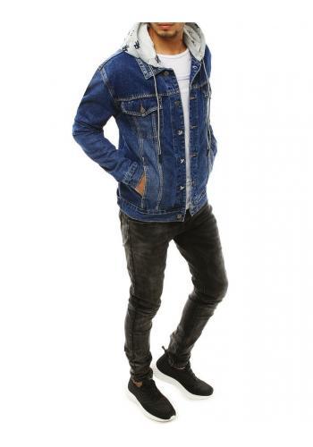 Riflová pánská bunda modré barvy s odepínací kapucí