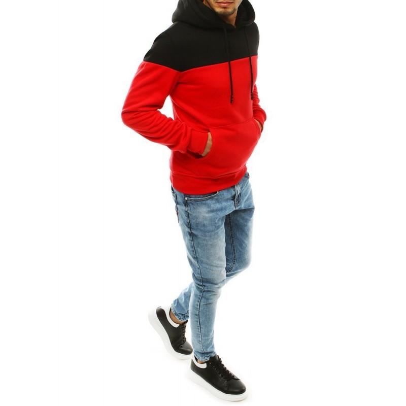 Pánská módní mikina s kapucí v červené barvě