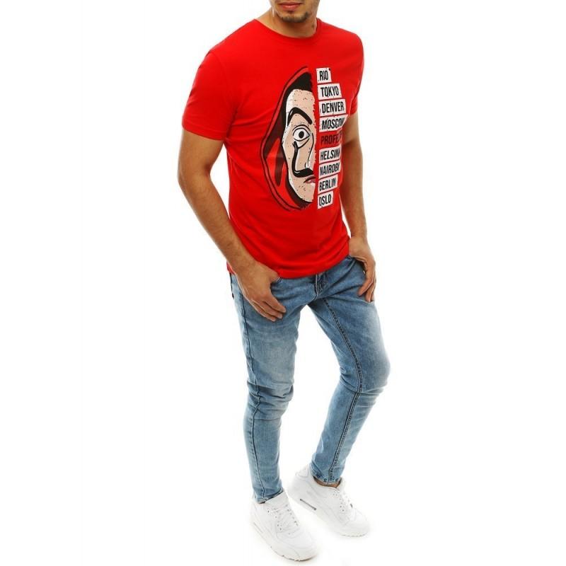 Pánské módní tričko s potiskem v červené barvě