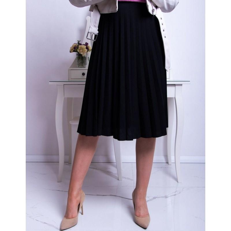 Světle šedá plisovaná sukně pod kolena pro dámy