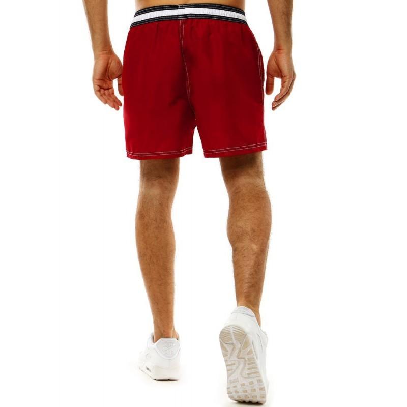 Pánské koupací šortky s kontrastním pásem v bordové barvě