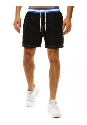 Černé koupací šortky s kontrastním pásem pro pány